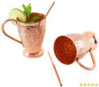 Moscow Mule Copper Mug Set - 100% Pure - Bonus Copper Straws Sticks for Drink